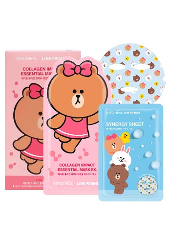 Mediheal pink Mediheal LINE FRIENDS Collagen Impact Essential Mask Box [8 Sheets + 2 Packets of Synergy Masks] F45C4BE666A72EGS_1