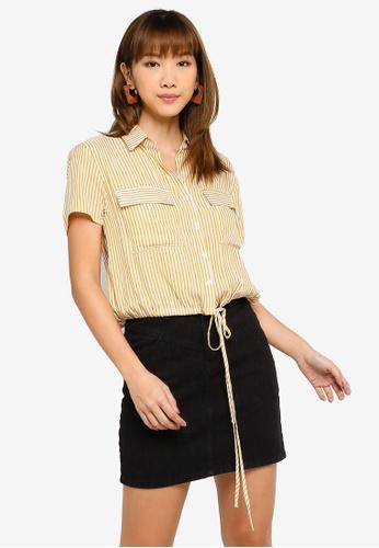 Something Borrowed white and yellow Utility Shirt with Drawstring Hem EA2B7AA4B2D504GS_1