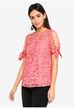 1726d9ff695 Dorothy Perkins pink Coral Lace Tie Sleeve Tee FF324AA62C8181GS 1