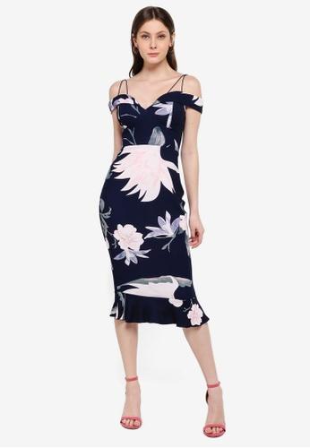 AX Paris navy Floral Fishtail Midi Dress B6724AAB72ADC2GS_1