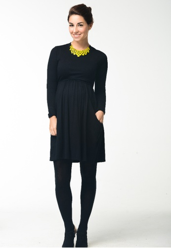 Bove by Spring Maternity black Knitted Long Sleeved Mai High Neck Dress Black 0768CAA62CF06CGS_1