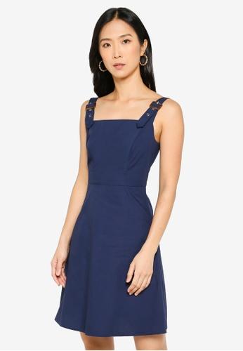 ZALORA BASICS 海軍藍色 Mini Buckle Straps Dress 849FEAA8142C92GS_1