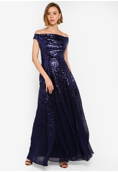 1830e033915 27% OFF Goddiva Pleated Bodice Sequin And Chiffon Maxi Dress S  180.90 NOW  S  131.90 Available in several sizes