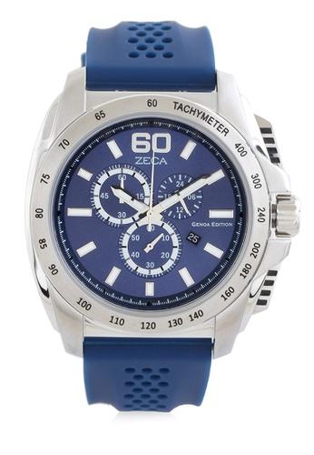ZECA blue Zeca Watches Men Fashion Rubber Chronograph - 247M Blue 6762CACDABF26EGS_1
