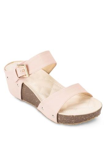 雙帶厚底楔esprit 會員卡型跟涼鞋, 女鞋, 鞋