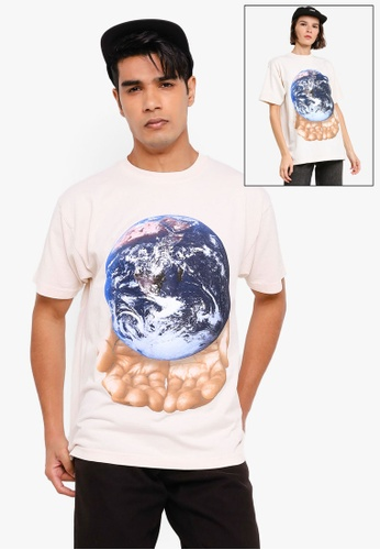 OBEY beige Our Planet Is In Your Hands Tee 4049AAA2EE82D7GS_1