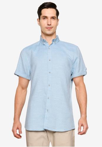 LC Waikiki 藍色 修身短袖Twill 襯衫 03042AA036DEF5GS_1