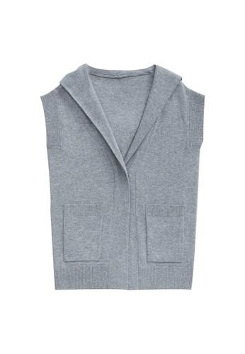 KLAPS grey Cashmere-blend Hooded Cardigan 212E4AA8A8C3A4GS_1