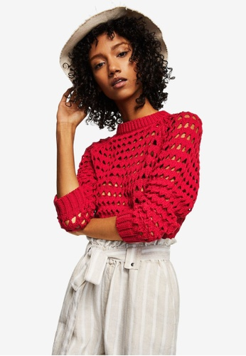 Mango red Openwork Knit Sweater CFBC4AA2338AA2GS_1