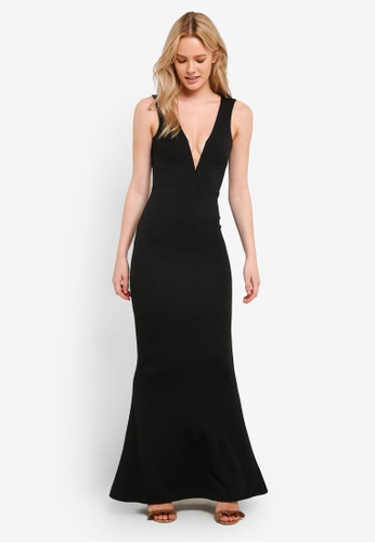 MISSGUIDED black V Plunge Maxi Dress MI511AA0RK9IMY_1
