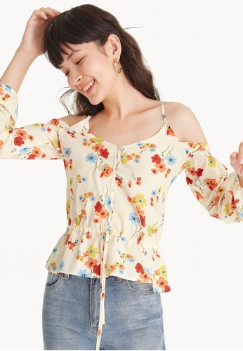 Pomelo beige Floral Frill Cold Shoulder Blouse B6D5AAA9AA1640GS_1