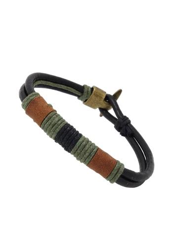 Jaysa Collection black Genuine Leather Braided Rope Bracelet With Bronze Buckle JA875AC53BTESG_1