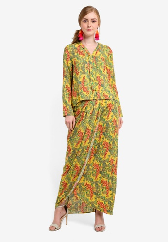 Lubna pink and yellow Printed Flared Hi Low Kebaya A74F0AA6F50960GS_1