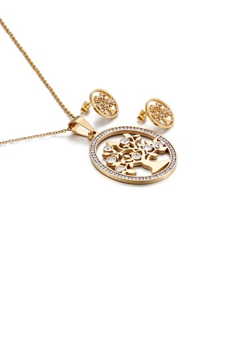 Glamorousky white Fashion Simple Plated Gold Geometric Round Tree Of Life 316L Stainless Steel Necklace and Stud Earrings Set with Cubic Zirconia 27DECAC6938A60GS_1