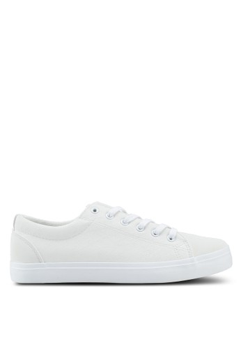 Penshoppe white Synthetic Leather Lace-Up Sneakers 1B459SH3395314GS_1