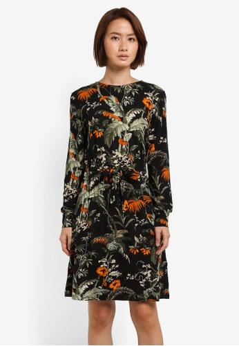 WAREHOUSE black Hot House Print Channel Dress 9EA02AAEE16E3DGS_1