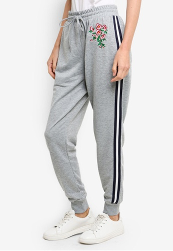 Brave Soul grey Jogging Pants With Floral Patches And Stripe Down The Leg 67ACAAA9AA6684GS_1