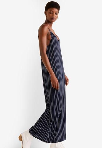Mango blue Striped Long Jumpsuit F64DBAA8A6F141GS_1