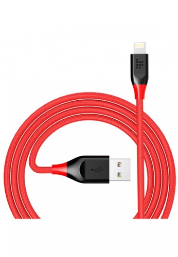 Tronsmart grey and white and red Tronsmart Double Braided Nylon 4ft 19AWG  Lightning Cable for Apple Devices - Red 0126CESEDEAC3BGS_1