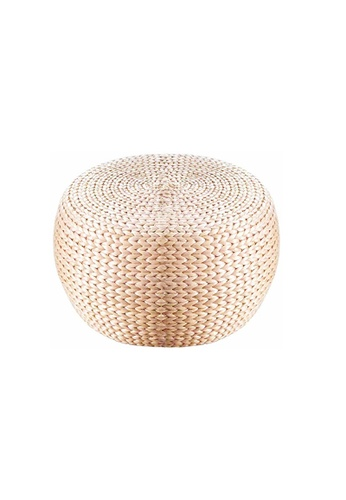 Propstation Round Weave Natural Rattan Accent Pouf Stool 32cm 2B1CBHLF3FF867GS_1
