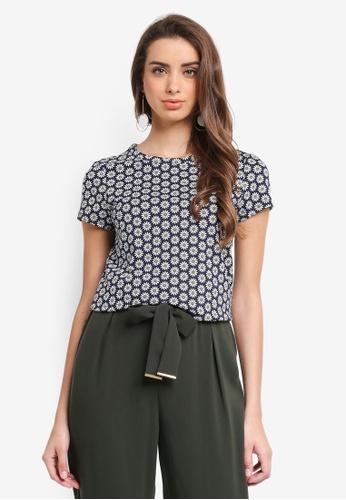 Dorothy Perkins navy Navy Geometric Print T-Shirt A965AAA7572B29GS_1