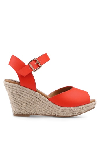 Miss KG 橘色 草編楔型涼鞋 77FA3SH42CF355GS_1