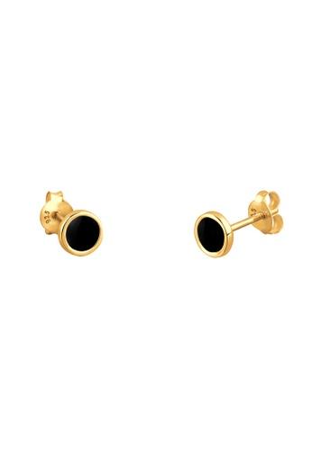 Elli Germany black Elli Germany Circle Filigran 925 Silver Gold Plated Earrings EL474AC89GNYMY_1