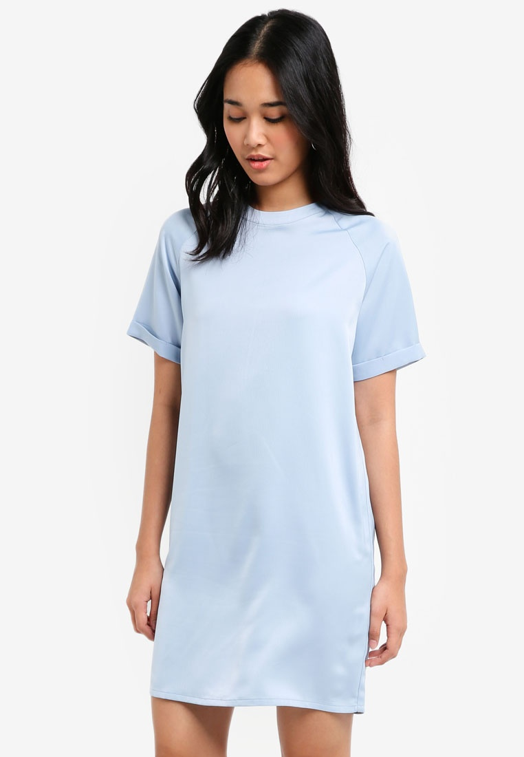 Shift Powder Blue Borrowed Raglan Satin Dress Something F8XqHnx5w