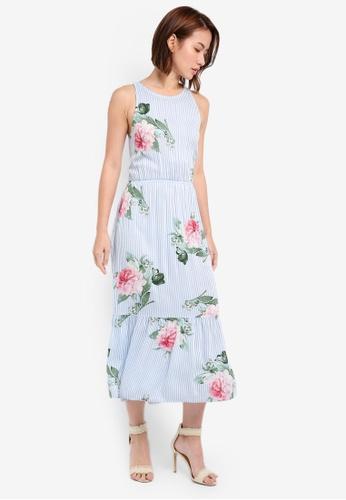 ZALORA blue Sleeveless Midi Dress With Cross Back 2486AAA2B682E8GS_1