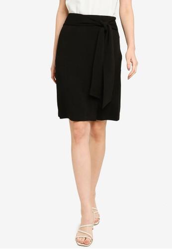 ZALORA WORK black Stretch Knit Self Tie Skirt D777FAA65E24F4GS_1