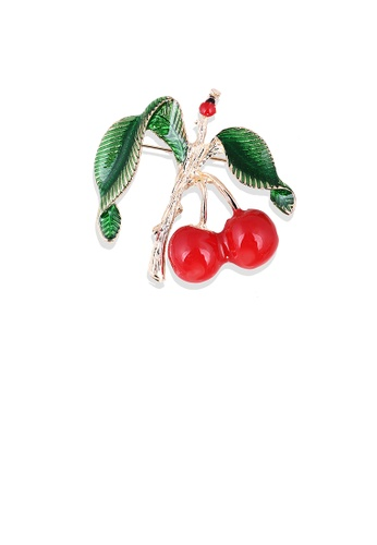 Glamorousky silver Fashion Sweet Plated Gold Enamel Cherry Brooch 4A31AAC9595C62GS_1