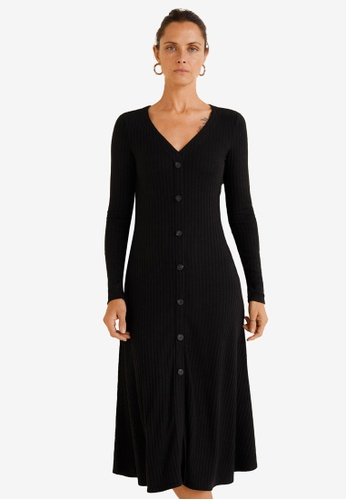Mango black Ribbed Buttonned Dress C9210AA1D87362GS_1