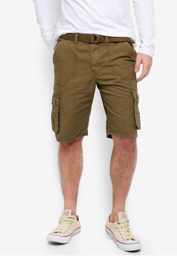 Brave Soul green Canvas Shorts 47E68AA146C070GS_1
