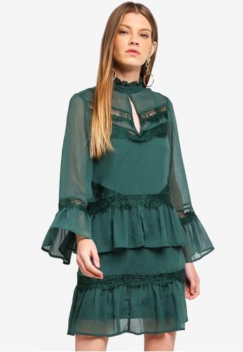 River Island green Lace Frill Trim Swing Dress 260C0AAB655C45GS_1