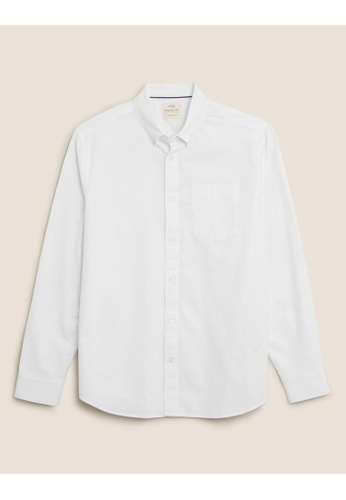 MARKS & SPENCER white M&S Pure Cotton Oxford Shirt 8518EAA221C20EGS_1