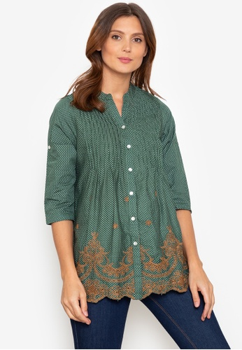 Beyond The Seams green Herminia Dotted Embroidered Mandarin Collar Pleated loose blouse F8F70AA8273828GS_1