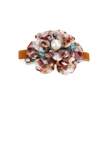 Glamorousky white Fashion and Elegant Brown Rose Flower Imitation Pearl Hair Slide DB86CACC9AC268GS_1