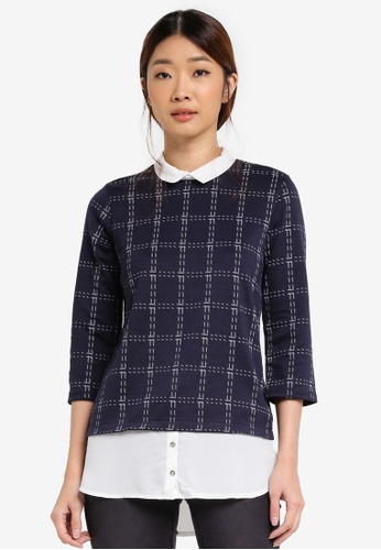Dorothy Perkins navy Checkered 2-in-1 Top DO816AA0T04JMY_1
