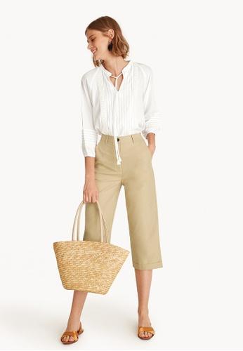 Pomelo beige Cropped Culotte Tailored Pants - Beige 10929AA8F6E7D5GS_1
