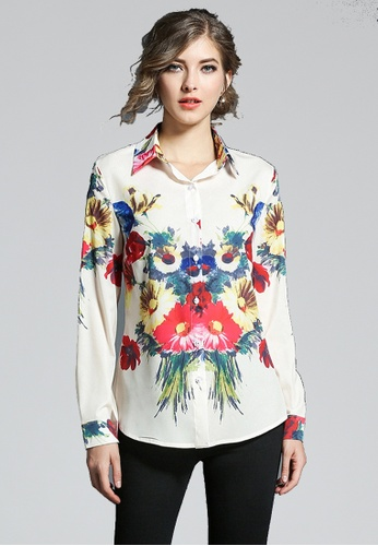 NBRAND multi Floral Printed Long Sleeve Lapel Shirt NB356AA0GQMPSG_1
