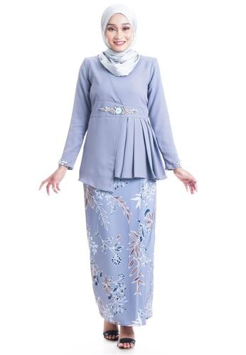 Ashura blue Etini Kurung Asymmetrical Peplum 3DCC5AAB4EABD3GS_1