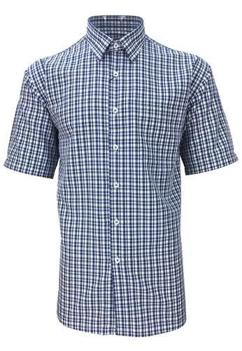 Pacolino blue Pacolino - Checker Formal Casual Short Sleeve Men Shirt 6A510AA7A56639GS_1