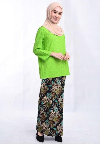 BATIK HOUSE KURUNG KEDAH TRADISIONAL BHKT01-071 (GREEN) from batik house my in Green