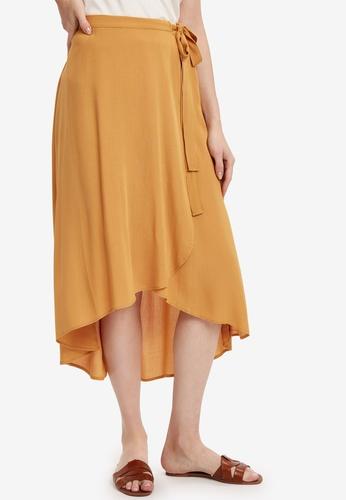 LC Waikiki yellow Asymmetrical Viscose Skirt 1B5BAAA4DDF3C5GS_1