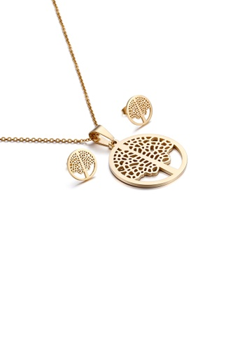 Glamorousky silver Fashion Simple Plated Gold Hollow Tree Of Life Geometric Round 316L Stainless Steel Necklace and Stud Earring Set 98ECAACABD38BBGS_1