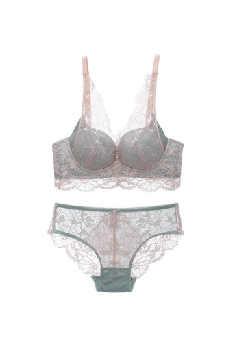 Midnight 綠色 Premium Lace Green Lingerie Set (Bra and Underwear) 7E528USFC0AAC4GS_1