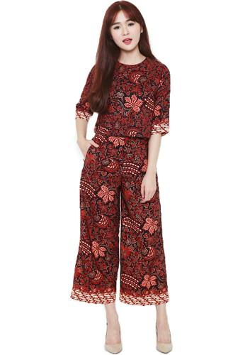 Flike Batik black Blouse Crop Top Tangan 3/4 + Celana Kulot Motif Padhang Katresnan CC702AA62DE1B1GS_1
