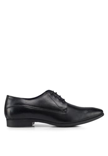 Burton Menswear London black Black Leather Derby Shoes F91A0SHA817016GS_1