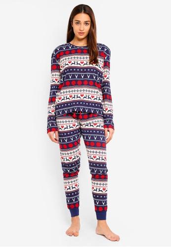 Chelsea Peers multi Let It Snow Fair Isle All Over Print Long Pyjama Set B312AAA6A8D614GS_1