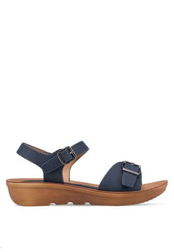 NOVENI navy Buckle Strap Sandals 72BD5SHDB889C1GS_1
